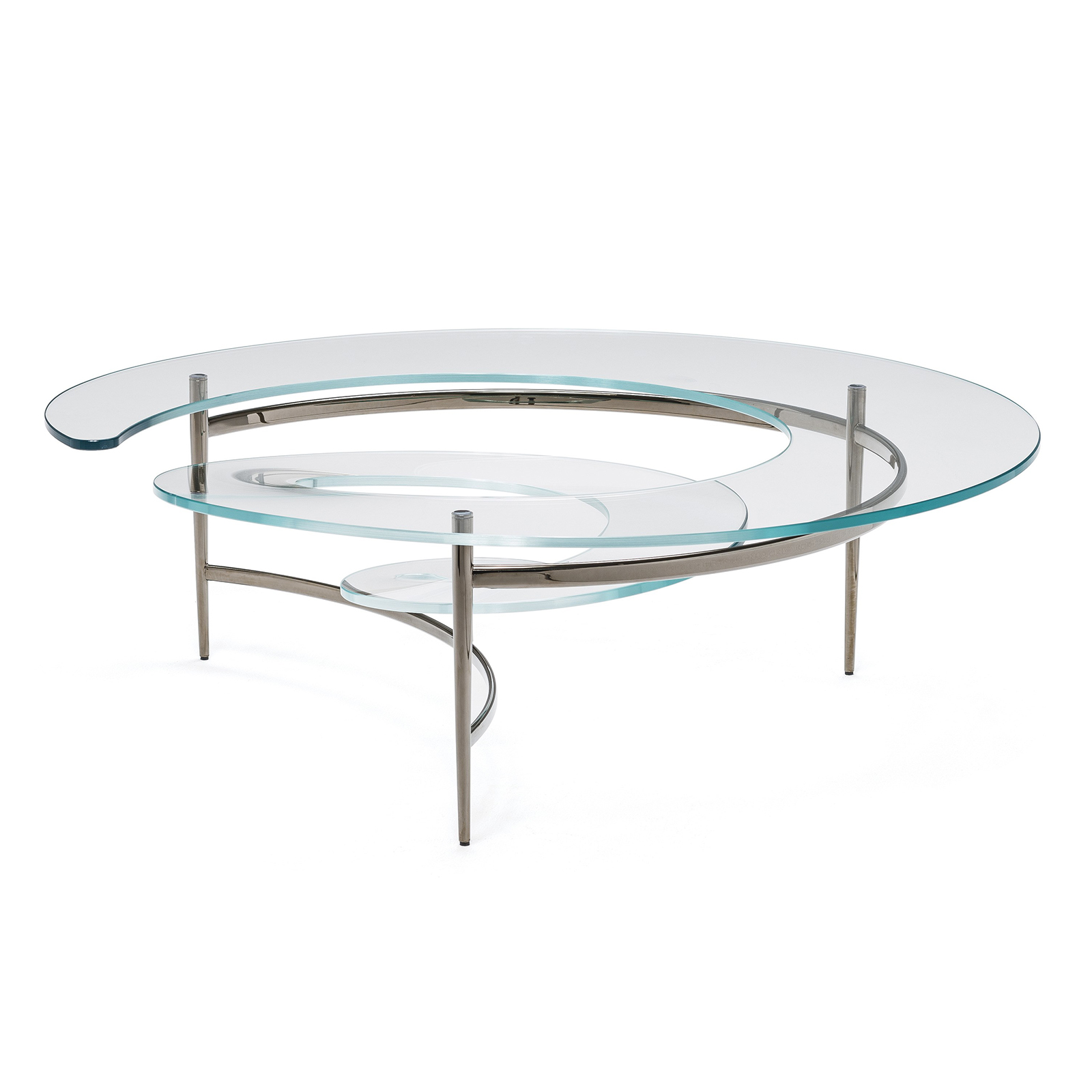 Table basse design en verre spirale mobilier de luxe for Table haute en verre