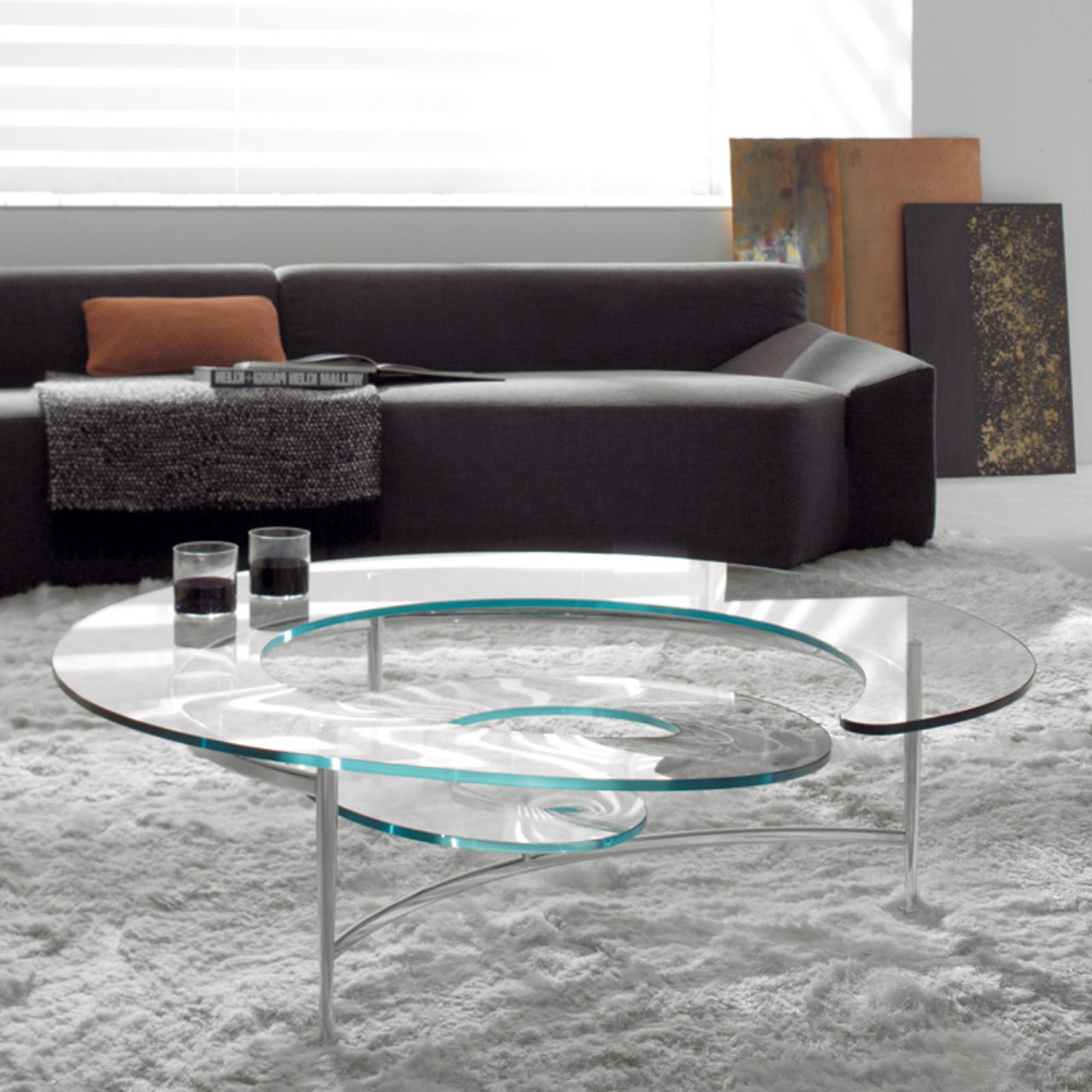 table basse design en verre spirale mobilier de luxe. Black Bedroom Furniture Sets. Home Design Ideas