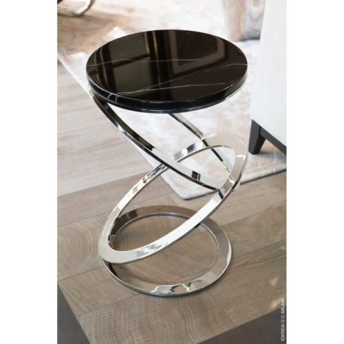 Table d'appoint en inox et marbre - IDKrea Collection, Rennes